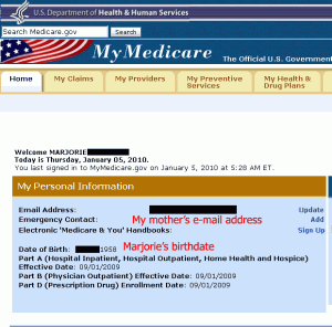 Medicare.gov mixing users account data