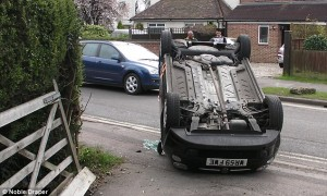 Student Driver Flips Car at Dermot's House